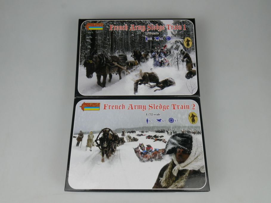 Strelets 1/72 133 + 134 French Army Sledge Train 1 + 2 Figur kit w/Box 112997