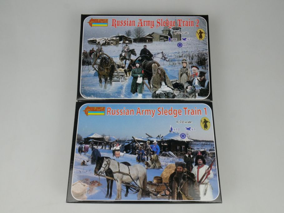 Strelets 1/72 135 + 136 Russian Army Sledge Train 1 + 2 Figur kit w/Box 112998