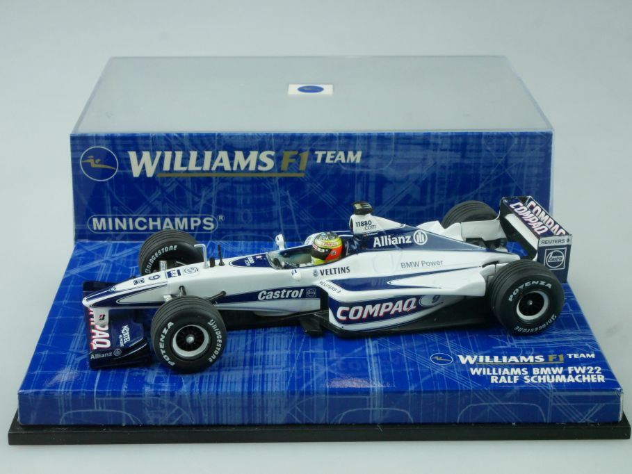 Minichamps 1/43 F1 Williams BMW FW22 2000 R. Schumacher 430000009 Vitrine 113673