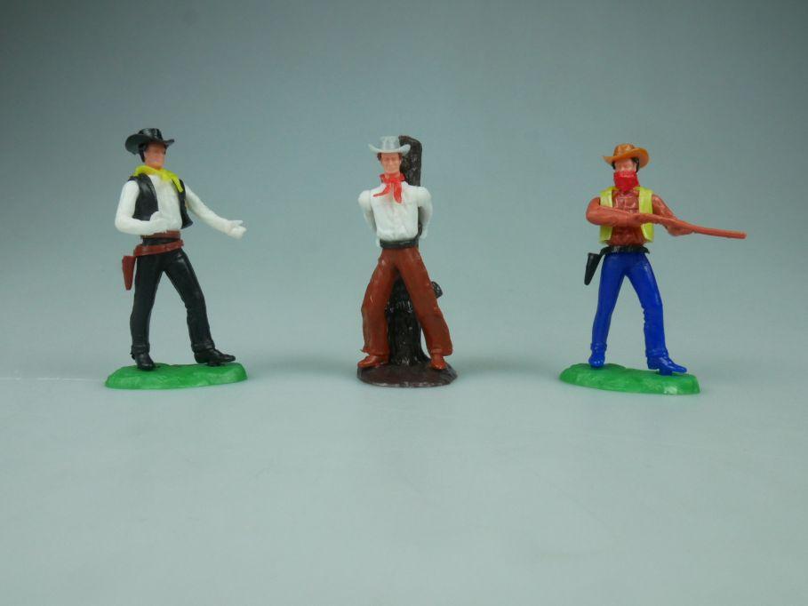 Elastolin Hausser Steckfiguren 3 Cowboys Sheriff Gefangener Bandit 114055