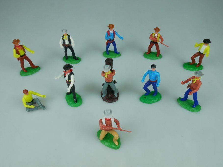 Elastolin Hausser Steckfiguren 11 Cowboys Sheriff Gefangener Bandit 114056