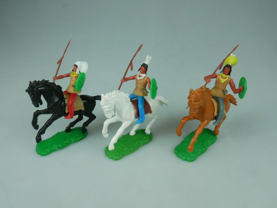 Elastolin Hausser Steckfiguren 3 Indianer Pferd Reiter 114058