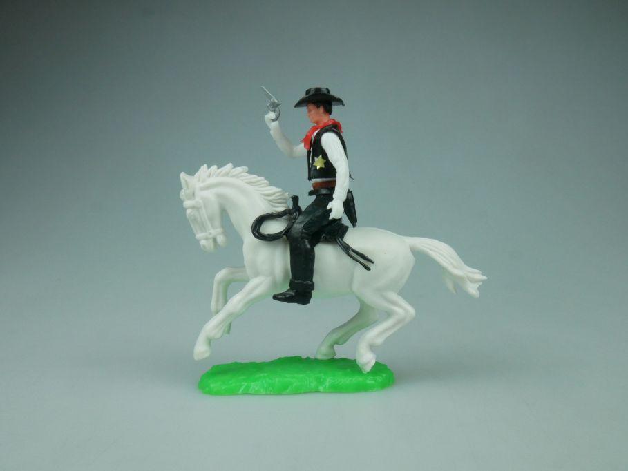 Elastolin Hausser Steckfigur Cowboy Sheriff Reiter Pferd Pistole 114057