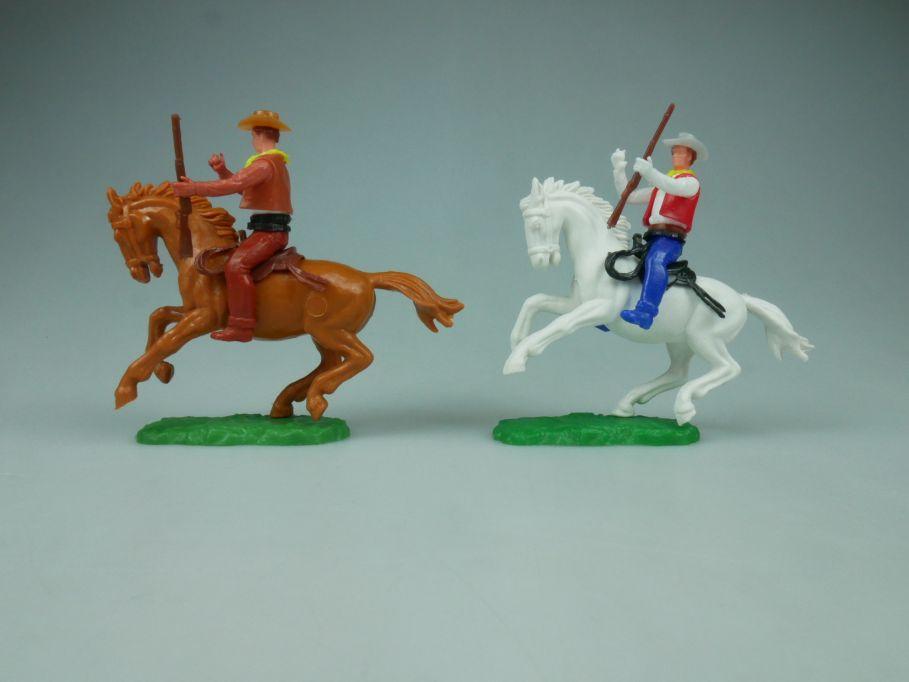 Elastolin Hausser Steckfiguren 2 Cowboy Reiter Pferd Gewehr 114059