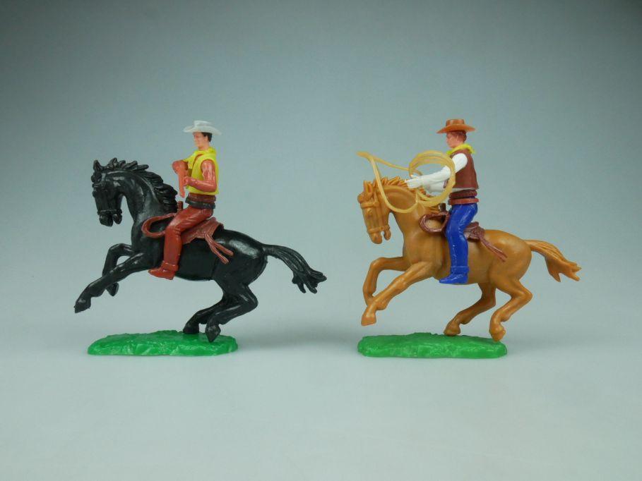 Elastolin Hausser Steckfiguren 2 Cowboy Reiter Pferd Lasso 114060