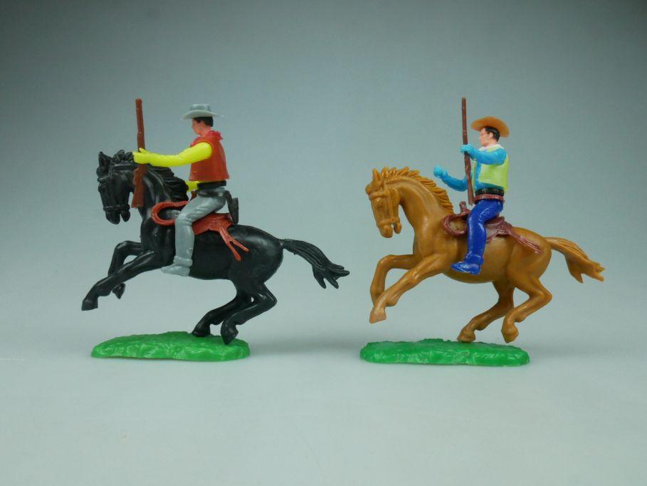Elastolin Hausser Steckfiguren 2 Cowboy Reiter Pferd Gewehr 114061