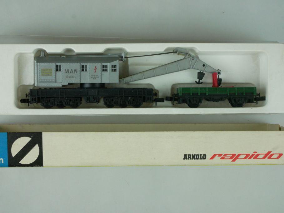 Arnold rapido Spur N 0465 Kranwagen MAN Bw371 mit Kranschutzwagen + Box 113891
