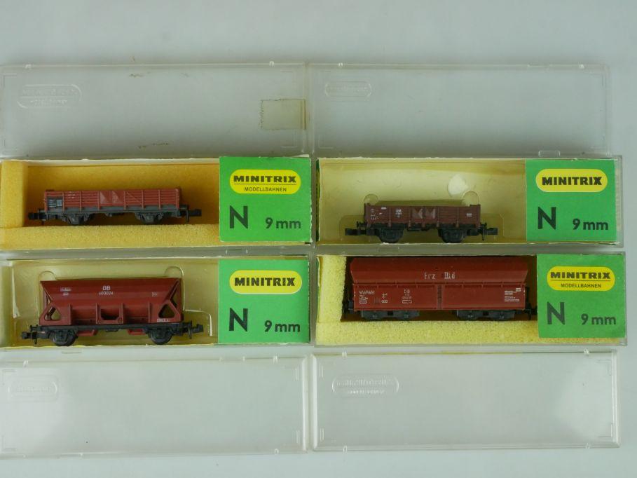 4x Minitrix Spur N Güterwagen 3287 3169 3163 3251 + Box 113895