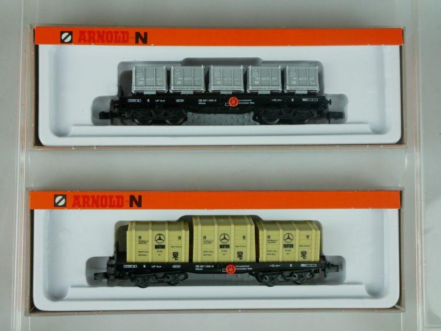 2x Arnold Spur N 4955 4961 Flachwagen m. Behältern Überseekisten + Box 113898