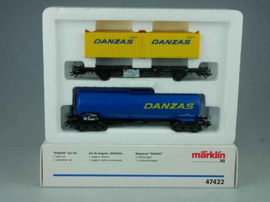 Märklin 47422 H0 Wagen Set Danzas Kesselwagen Containerwagen + Box 114034