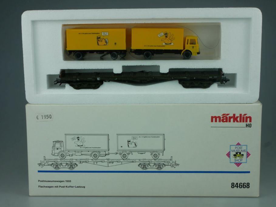 Märklin 84668 H0 Postmuseumswagen 1995 Flachwagen Post Koffer Lastzug Box 114035