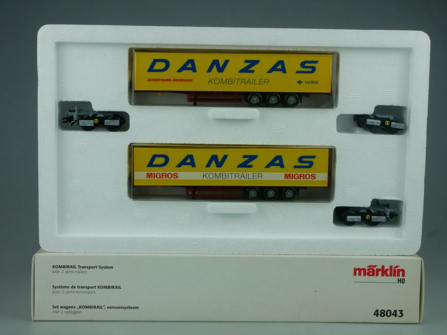 Märklin 48043 H0 KOMBIRAIL Transport System Danzas 2 Sattelauflieger Box 114036