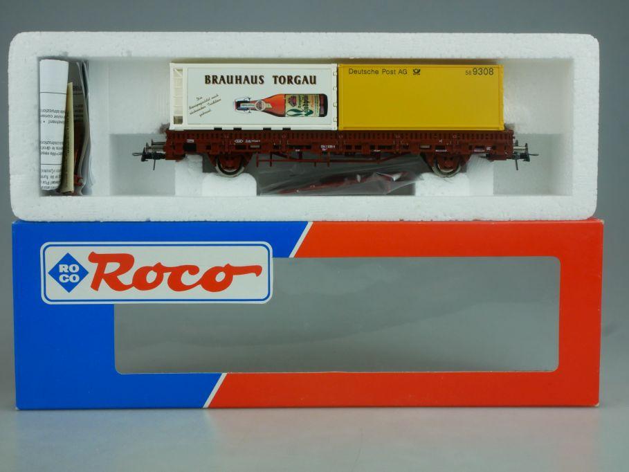 Roco H0 47188 Brauhaus Torgau Deutsche Post Container Rungenwagen DB Box 114047