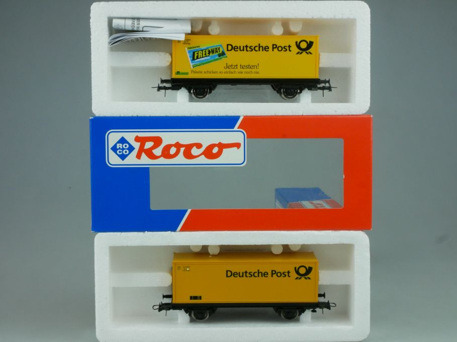 2x Roco H0 Container Wagen Deutsche Post DB 47251 etc. Box 114048