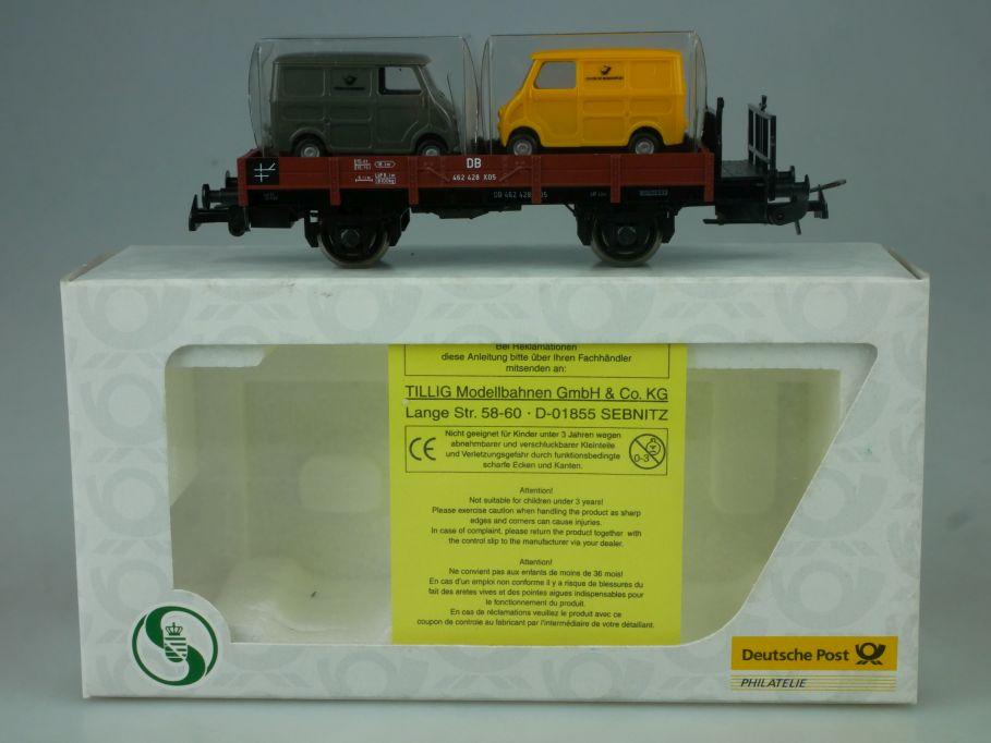 Tillig H0 78835 Niederbordwagen Typ X DB Ep III + 2 Bundespost LKW Box 114049