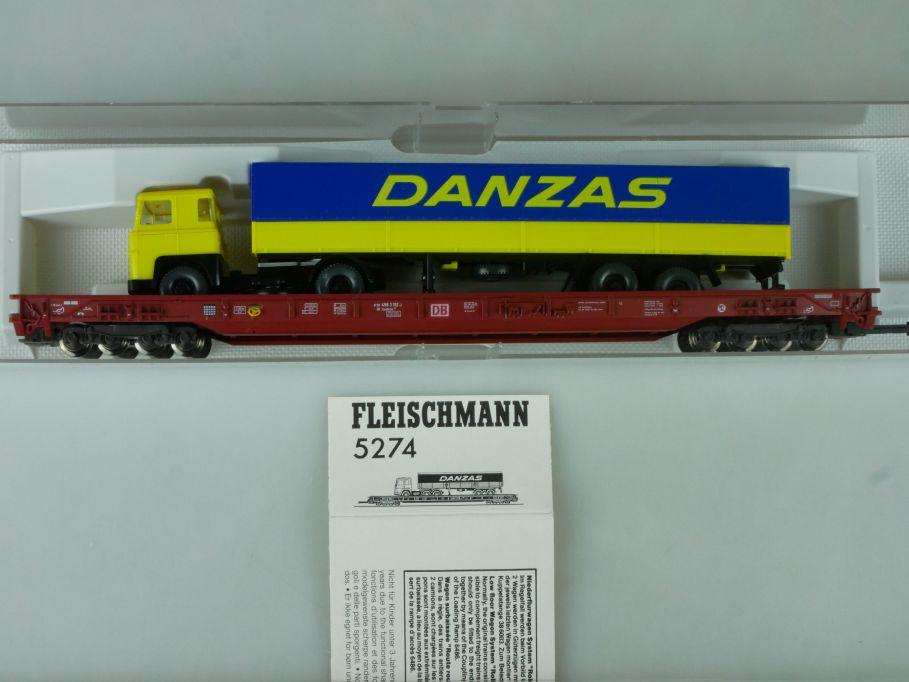 Fleischmann H0 5274 Niederflurwagen rollende Landstrasse DANZAS Box 114050