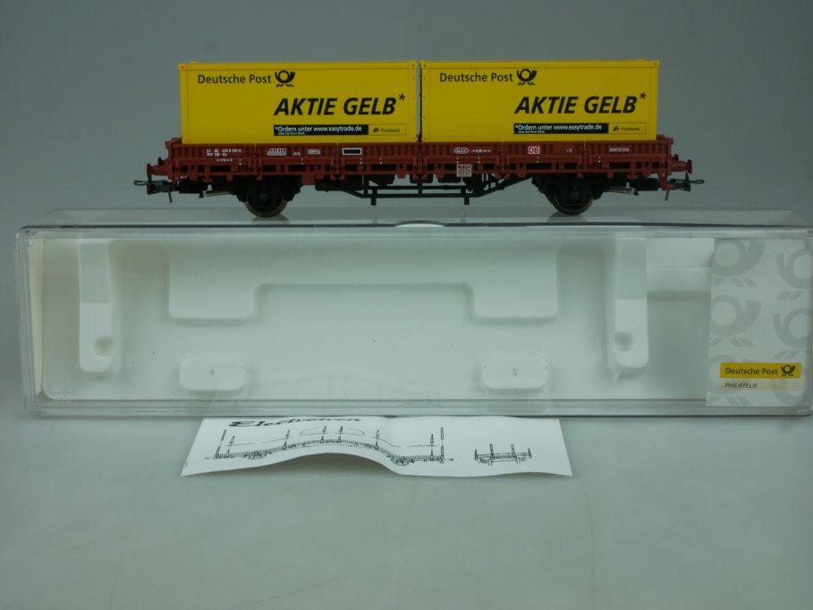 Electrotren H0 Rungenwagen Container Aktie Gelb Deutsche Post 1528 Box 114033