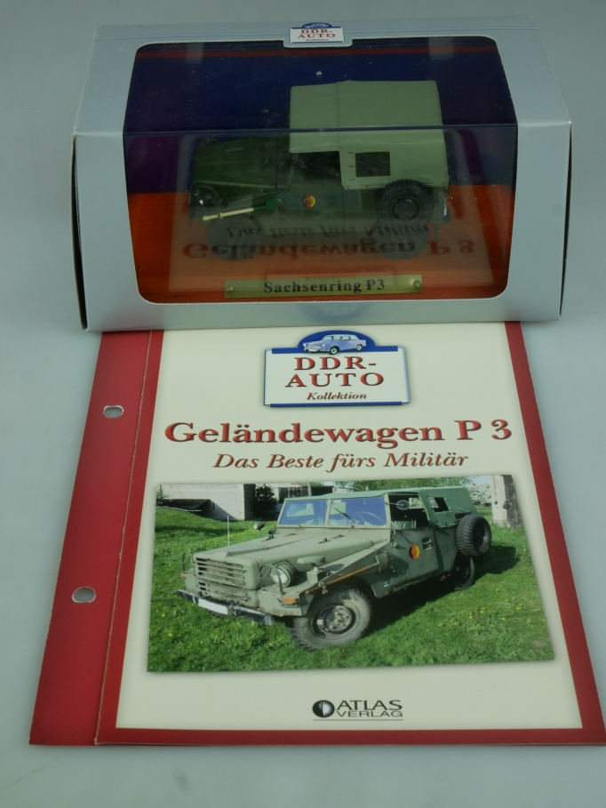 Atlas DDR-Auto 1/43 Sachsenring Geländewagen P3 + Datenblatt in Box - 113960