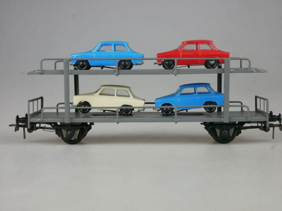 Piko Dahmer H0 DC Autotransportwagen mit 4 Trabant Trabbis DDR PKW PFR 114079