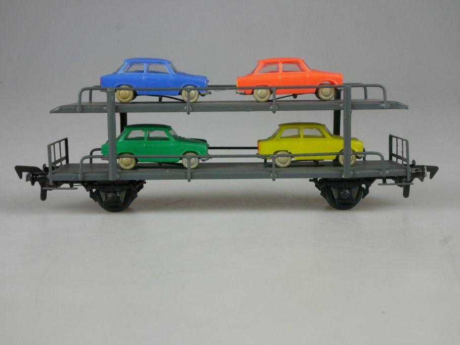 Piko Dahmer H0 DC Autotransportwagen mit 4 Trabant Ladegut DDR PKW PFR 114084