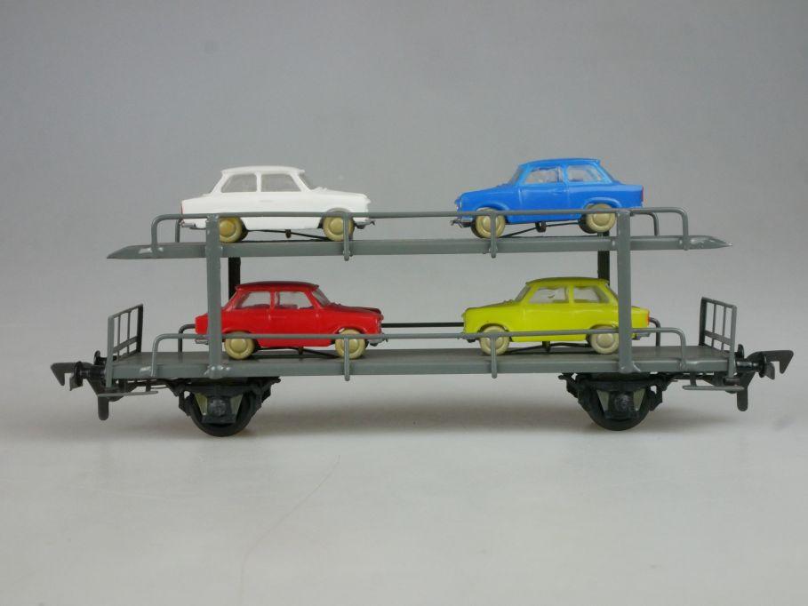Piko Dahmer H0 DC Autotransportwagen mit 4 Trabant Ladegut DDR PKW PFR 114085