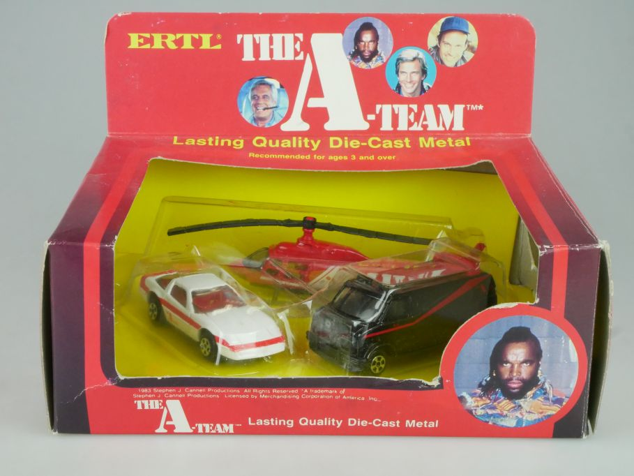 1980s Ertl Set # 1415 - THE A-TEAM - GMC Van Corvette Helicopter + Box 114150