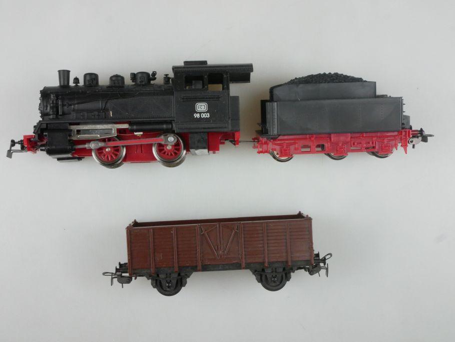 Piko H0 DC BR 98003 Dampflok der DB + Güterwagen 114302
